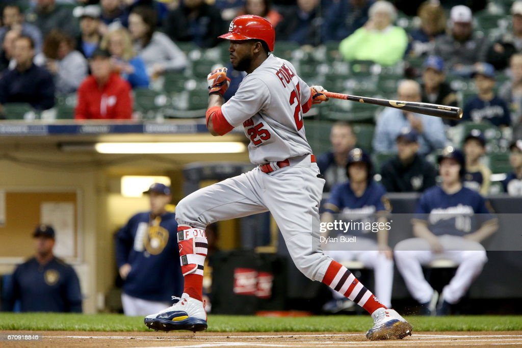 Dexter Fowler #25 of the St. Louis Cardinals grounds out in the first inning against the Milwaukee Brewers at Miller Park on April 20, 2017 in Milwaukee, Wisconsin.