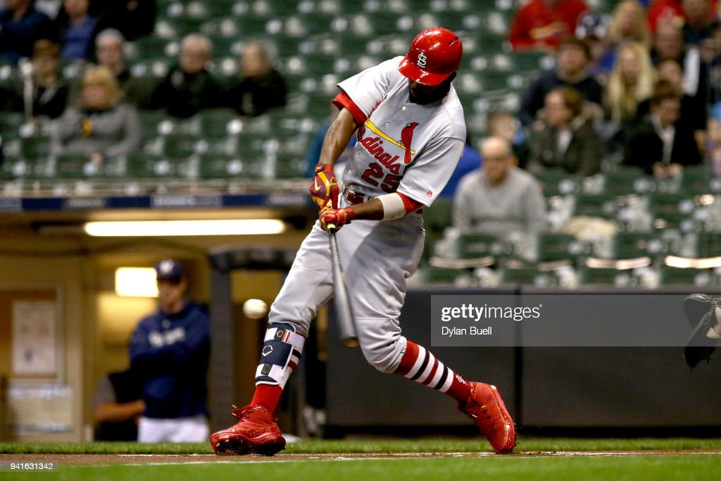 Dexter Fowler #25 of the St. Louis Cardinals hits a home run in the first inning against the Milwaukee Brewers at Miller Park on April 3, 2018 in Milwaukee, Wisconsin.
