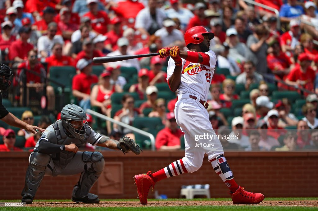 Dexter Fowler #25 of the St. Louis Cardinals hits a two run home run during the seventh inning against the Chicago White Sox at Busch Stadium on May 2, 2018 in St Louis, Missouri.