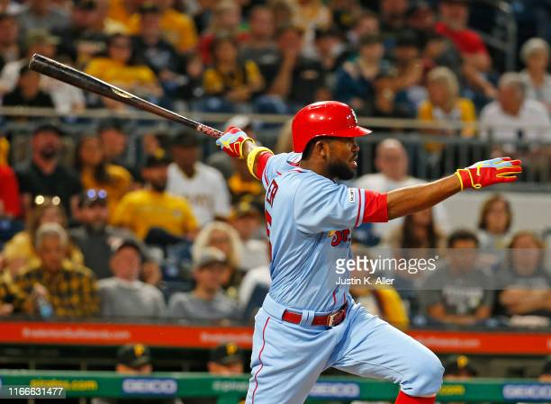 Dexter Fowler of the St. Louis Cardinals hits an RBI single in the third inning against the Pittsburgh Pirates at PNC Park on September 7, 2019 in...