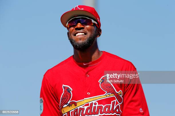 Dexter Fowler of the St Louis Cardinals in action against the Atalanta Braves during a spring training baseball game at Roger Dean Stadium on March...
