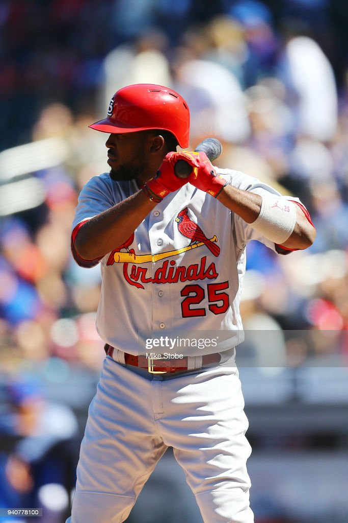 Dexter Fowler #25 of the St. Louis Cardinals in action against the New York Mets at Citi Field on March 31, 2018 in the Flushing neighborhood of the Queens borough of New York City. New York Mets defeated the St. Louis Cardinals 6-2.