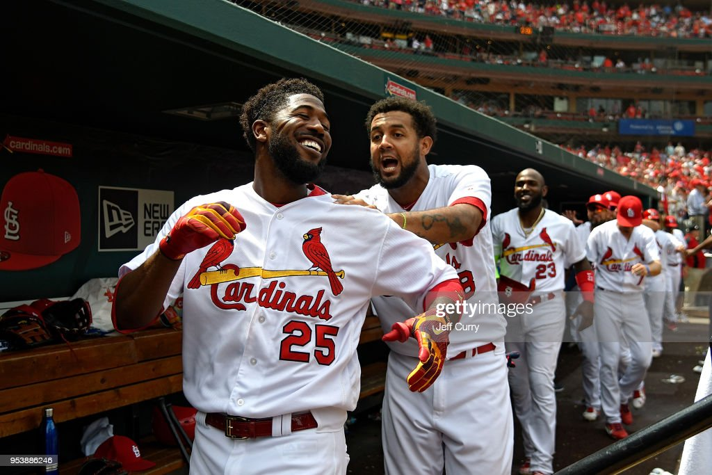 Dexter Fowler #25 of the St. Louis Cardinals leads the conga line celebration after hitting a two run home run during the seventh inning against the Chicago White Sox at Busch Stadium on May 2, 2018 in St Louis, Missouri.