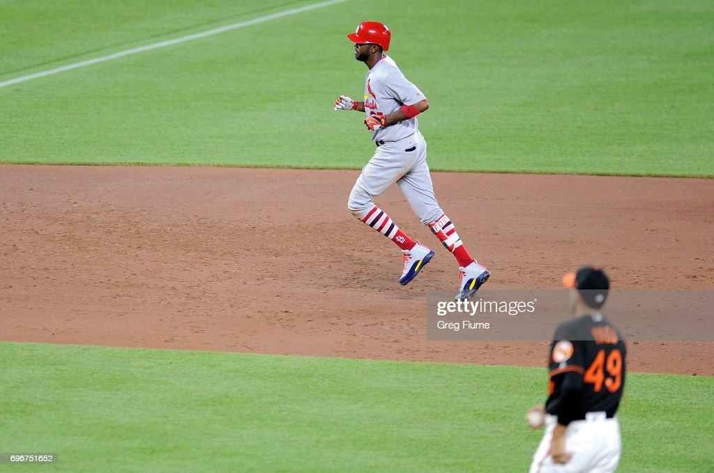 Dexter Fowler #25 of the St. Louis Cardinals rounds the bases after hitting a home run in the sixth inning against the Baltimore Orioles at Oriole Park at Camden Yards on June 16, 2017 in Baltimore, Maryland. St. Louis won the game 11-2.