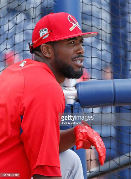Dexter Fowler of the St Louis Cardinals stands at the batting cage prior to the spring training game against the Washington Nationals at The Ballpark...