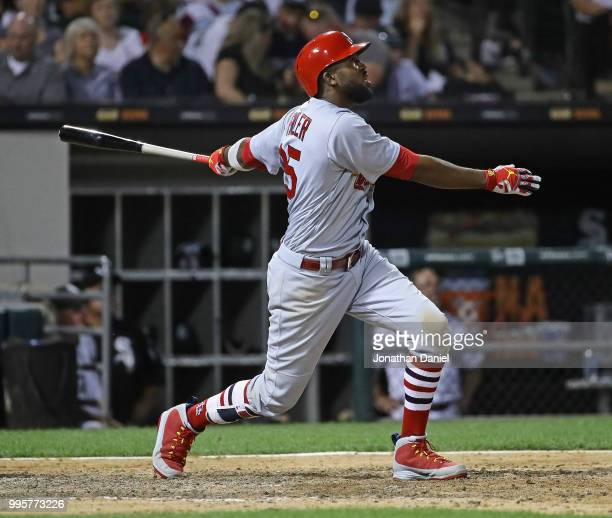 Dexter Fowler of the St Louis Cardinalshits a grand slam home run in the 6th inning against the Chicago White Sox at Guaranteed Rate Field on July 10...