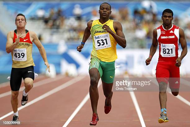 Dexter Lee of Jamaica runs in the 100 Metres round one heat on day two of the 13th IAAF World Junior Championships at the Stade Moncton 2010 Stadium...