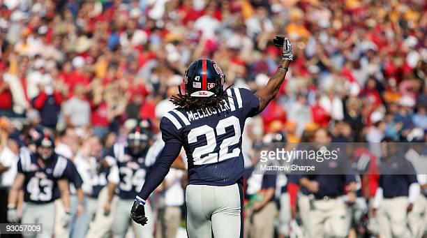 Dexter McCluster of the Ole Miss Rebels celebrates one of his four touchdowns against the Tennessee Volunteers at VaughtHemingway Stadium on November...