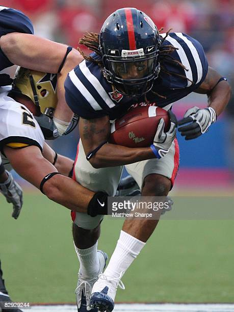 Dexter McCluster of the Ole Miss Rebels runs against the Vanderbilt Commodores during their game at Vaught-Hemingway Stadium on September 20, 2008 in...