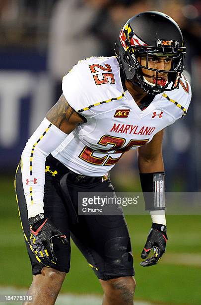 25e04b8809f Dexter McDougle of the Maryland Terrapins lines up against the Connecticut  Huskies at Rentschler Field on