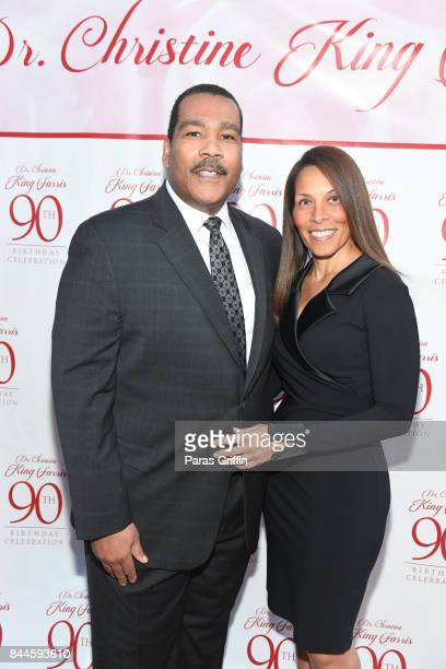 Dexter Scott King and guest at Dr Christine King Farris 90th Birthday Celebration at King Family Birth Home Historic Site on September 8 2017 in...