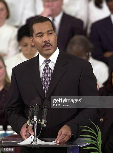 Dexter Scott King son of slain civil rights leader Rev Martin Luther King Jr speaks during the Martin Luther King Jr Commemorative Service at the...