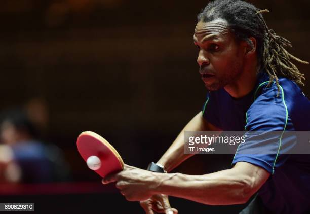 """Dexter St Louis of Trinidad """"n in action during the Table Tennis World Championship at Messe Duesseldorf on May 29, 2017 in Dusseldorf, Germany."""