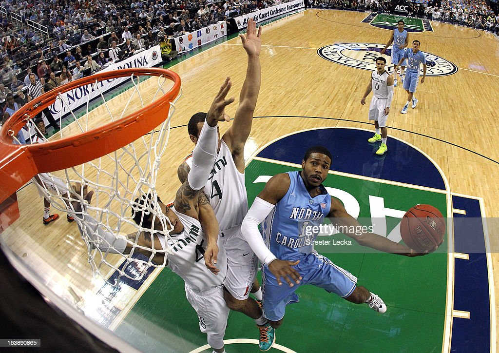 Dexter Strickland #1 of the North Carolina Tar Heels drives to the basket against the Miami Hurricanes during the finals of the Men's ACC Basketball Tournament at Greensboro Coliseum on March 17, 2013 in Greensboro, North Carolina.