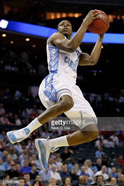 Dexter Strickland of the North Carolina Tar Heels lays the ball up while taking on the Long Island Blackbirds in the first half during the second...