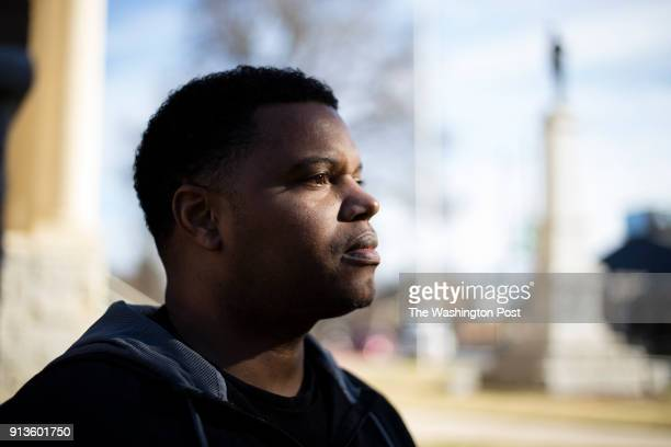 Dexter Trogdon poses for a portrait in the shadow of a confederate statue at the Randolph County Courthouse in Asheboro United States on December 26...