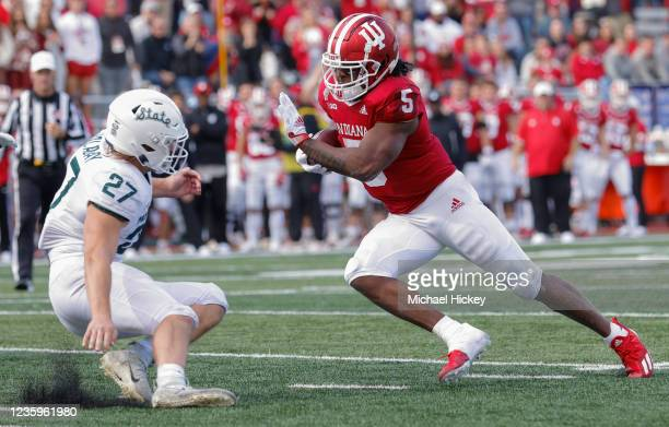 Dexter Williams II of the Indiana Hoosiers runs for a touchdown during the game against the Michigan State Spartans at Indiana University on October...