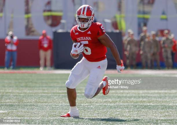 Dexter Williams II of the Indiana Hoosiers runs the ball during the game against the Michigan State Spartans at Indiana University on October 16,...