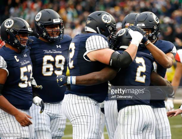 Dexter Williams of the Notre Dame Fighting Irish celebrates a touchdown against the Syracuse Orange during their game at Yankee Stadium on November...