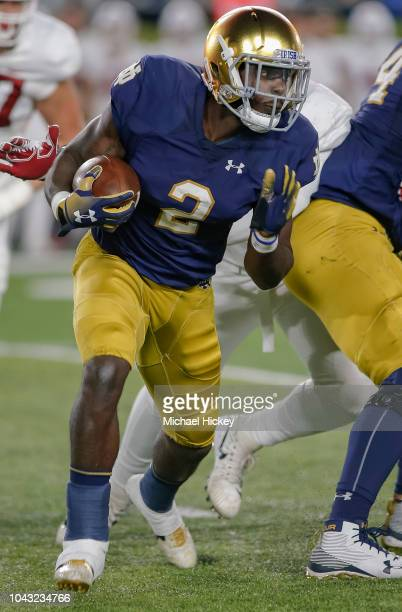 Dexter Williams of the Notre Dame Fighting Irish runs the ball during the first half of the game against the Stanford Cardinal at Notre Dame Stadium...