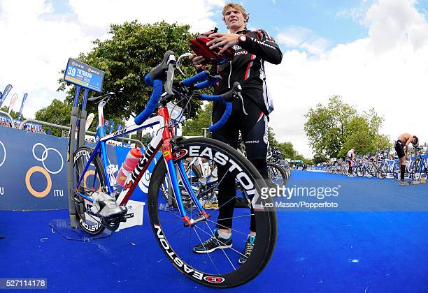 Dextro Energy/ ITU World Championship Triathlon Hyde Park London UK Competitor at the transition cycling section The event was won by Javier Gomez...