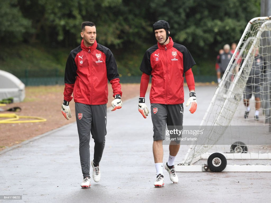 Deyan Iliev and Petr Cech of Arsenal before a training session at London Colney on September 8, 2017 in St Albans, England.