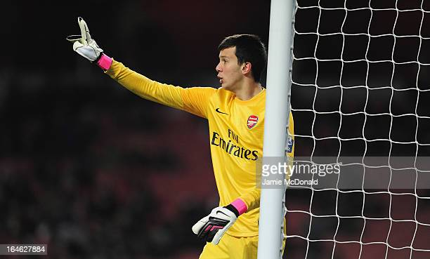 Deyan Iliev of Arsenal U19 in action during the NextGen Series Quarter Final match between Arsenal U19 and PFC CSKA U19 at the Emirates Stadium on...
