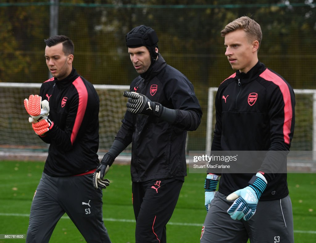 Deyan Iliev, Petr Cech and Hugo Keto of Arsenal during a training session at London Colney on October 18, 2017 in St Albans, England.