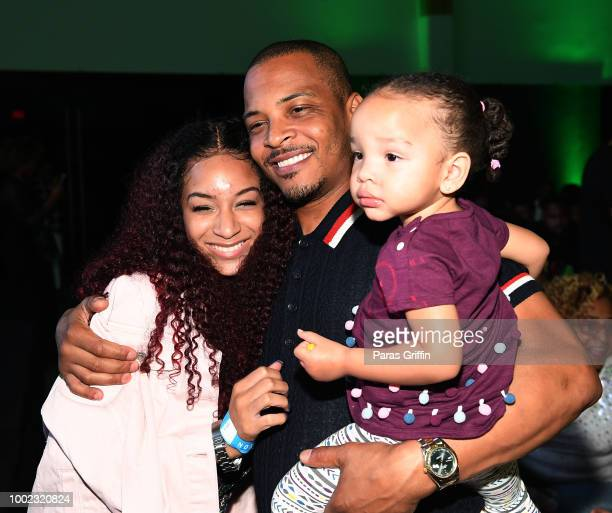 Deyjah Harris Tip TI Harris and Heiress Diana Harris attend The Grand Hustle Exclusive Viewing Party at The Gathering Spot on July 19 2018 in Atlanta...