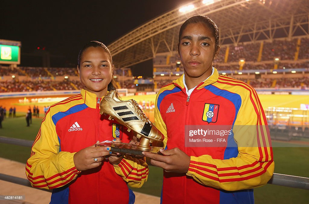 Deyna Castellanos (L) and Gabriela Garcia of Venezuela win the adidas Golden Boot the FIFA U-17 Women's World Cup 2014 final match between Japan and Spain at Estadio Nacional on April 4, 2014 in San Jose, Costa Rica.