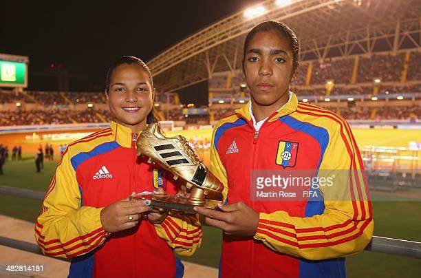 Deyna Castellanos and Gabriela Garcia of Venezuela win the adidas Golden Boot the FIFA U17 Women's World Cup 2014 final match between Japan and Spain...