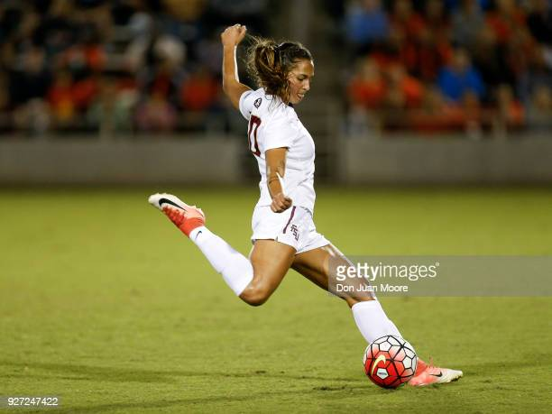 Deyna Castellanos of the Florida State Seminoles during a preseason match against the Orlando Pride at the Seminole Soccer Complex on the campus of...