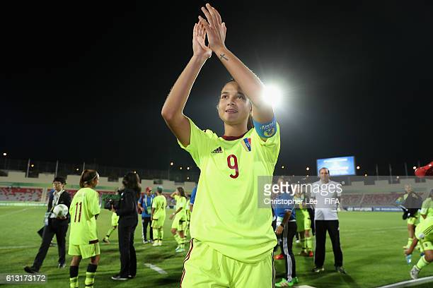 Deyna Castellanos of Venezuela aplauds the fans after their victory during the FIFA U17 Women's World Cup Jordan 2016 Group B match between Canada...