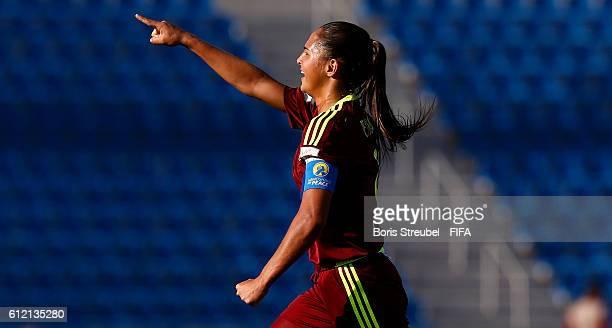 Deyna Castellanos of Venezuela celebrates after scoring her team's first goal with a freekick during the FIFA U17 Women's World Cup Group B match...