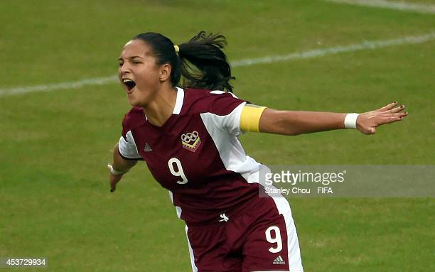 Deyna Castellanos of Venezuela celebrates after scoring the 2nd goal against Slovakia during the FIFA Girls Summer Olympic Football Tournament...