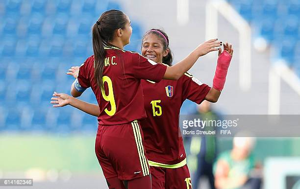 Deyna Castellanos of Venezuela celebrates her team's first goal with team mate Heliamar Alvarado during the FIFA U17 Women's World Cup Quarter Final...
