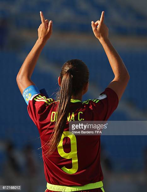 Deyna Castellanos of Venezuela celebrates scoring the opening goal during the FIFA U17 Women's World Cup Jordan 2016 Group B match between Venezuela...