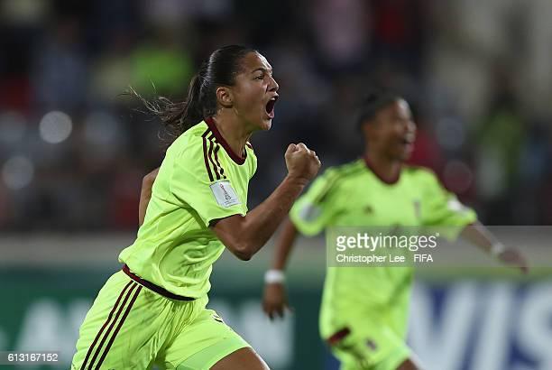 Deyna Castellanos of Venezuela celebrates scoring their first goal during the FIFA U17 Women's World Cup Jordan 2016 Group B match between Canada and...