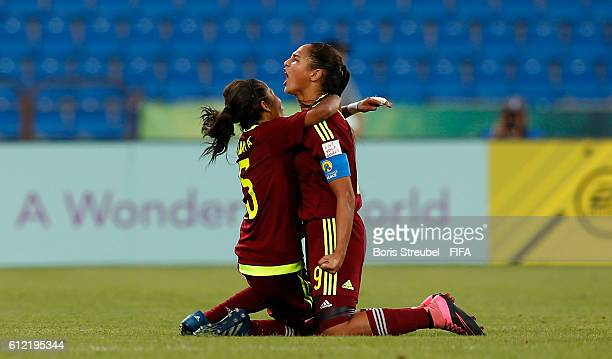 Deyna Castellanos of Venezuela celebrates with Iceis Briceno after scoring her team's second goal during the FIFA U17 Women's World Cup Group B match...