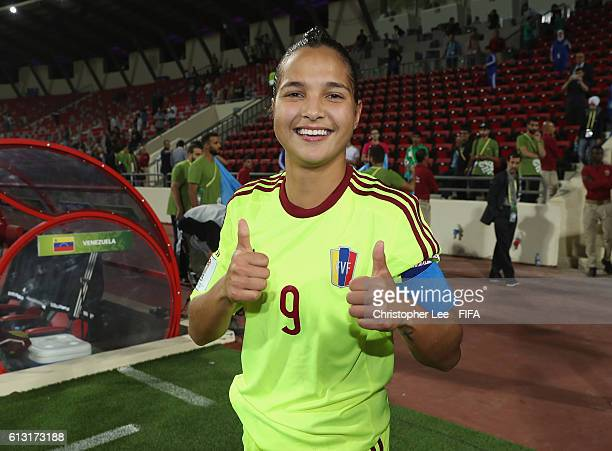 Deyna Castellanos of Venezuela gives a thumbs up after their victory during the FIFA U17 Women's World Cup Jordan 2016 Group B match between Canada...