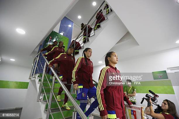 Deyna Castellanos of Venezuela leads her team down the stairs towards the pitch during the FIFA U17 Women's World Cup Jordan 2016 Third Place PlayOff...