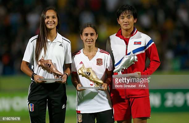 Deyna Castellanos of Venezuela Lorena Navarro of Spain and Ri Hae Yon of Korea DPR pose with the Adidas Boot Trophies after the FIFA U17 Women's...