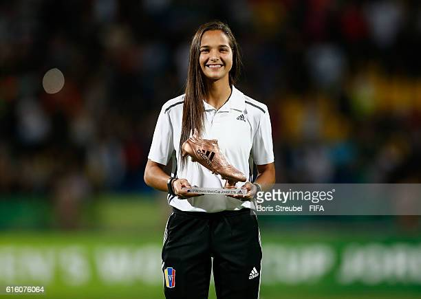 Deyna Castellanos of Venezuela pose with the Adidas Bronze Boot after the FIFA U17 Women's World Cup Finale match between Korea DPR and Japan at...