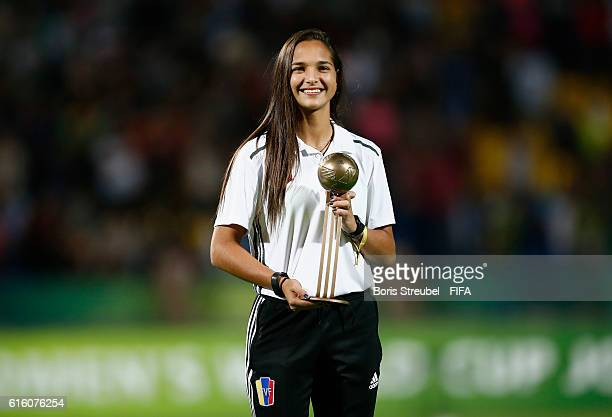 Deyna Castellanos of Venezuela pose with the Bronze Adidas Player of the Tournament Trophy after the FIFA U17 Women's World Cup Finale match between...
