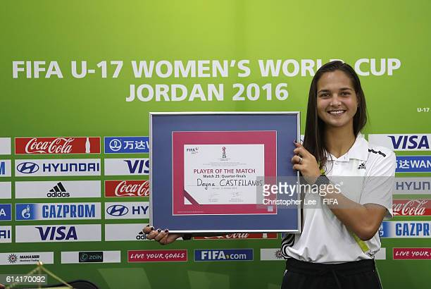 Deyna Castellanos of Venezuela poses for the camera with her Player of the Match award during the FIFA U17 Women's World Cup Jordan 2016 Quarter...