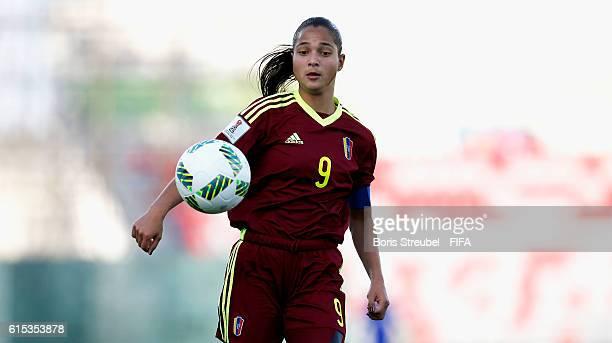 Deyna Castellanos of Venezuela runs with the ball during the FIFA U17 Women's World Cup Semi Final match between Venezuela and Korea DPR at King...