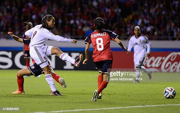 Deyna Castellanos of Venezuela scores her goal during the FIFA U17 Women's World Cup Group A match between Costa Rica and Venezuela at Estadio...