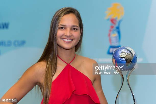 Deyna Castellanos Official Tournament Ambassador Venezuelan footballer poses with the trophy before the Official Draw for the FIFA U17 Women's World...