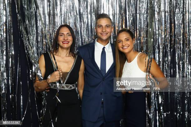 Deyna Castellanos with company is pictured inside the photo booth prior to The Best FIFA Football Awards at The London Palladium on October 23 2017...