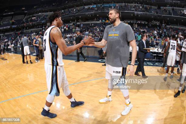 Deyonta Davis and Marc Gasol of the Memphis Grizzlies shake hands after the game against the Dallas Mavericks on April 12 2017 at FedEx Forum in...